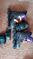 Roller blades with knee and wrist guards