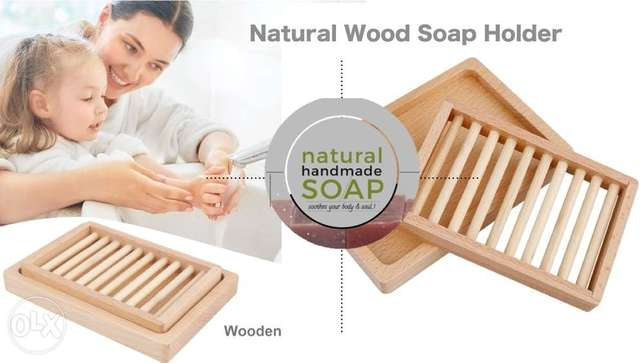 natural wood two layers soap holder