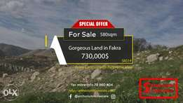Beautiful Land in Fakra with STUNNING Mountains Viewأرض في فقرا ٥٨٠ م٢