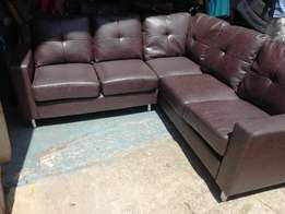 Brand new leather l shaped lounge suite in chocolate brown