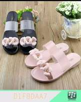 Rose Clear Flat Slide For Ladies