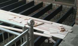We build wooden decking eg Pine,Saligna,Meranti decking professional
