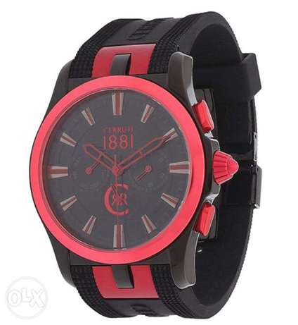 Cerruti black and red watch chronograph