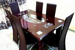 Smart Brown Six-Seater Dining Table