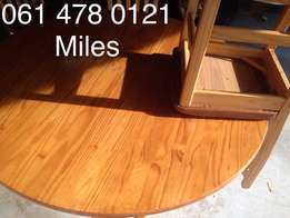 Round Breakfast Table, Leather-Wooden Chairs (x4)