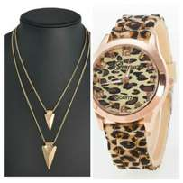 Fashion combo for a Geneva Leopard print watch and 2 layer gold chain