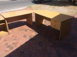 L-shape desk with drawers and credenza