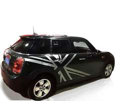 Silver mini cooper body sticker