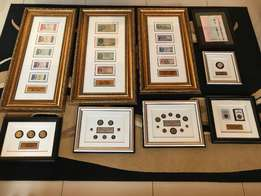 Framed collection of old South African coins and notes
