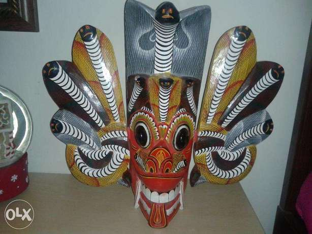 wooden dragon carved mask 32*36 wall mountable or on table