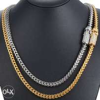 6mm Gold Stainless Iced Out Clasp Franco Link Chain