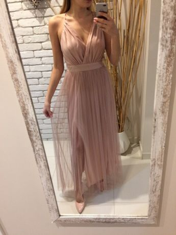 NOWA długa sukienka maxi pudrowy róż z rozcięciem odkrytymi