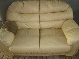 Leather couch two seater need TLC