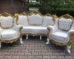 Antique Leather Sofas white and blue