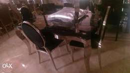 Black kangalo leg marble dining by six with six chairs