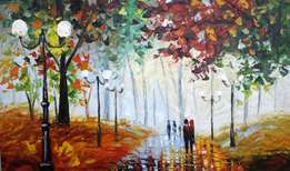 Walk in the park - palletknife oil painting