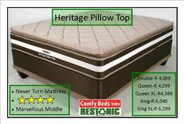 Restonic Heritage Pillow top queen bed at factory low prices
