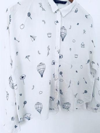 Koszula zara biała basic balony nadruk Ruda Śląska • OLX.pl