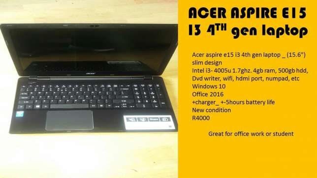 Acer aspire e15 i3 4th gen laptop Century City - image 1