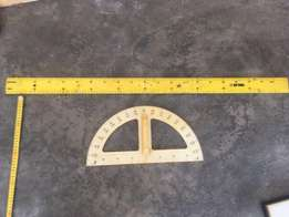 Chalk board ruler and protractor