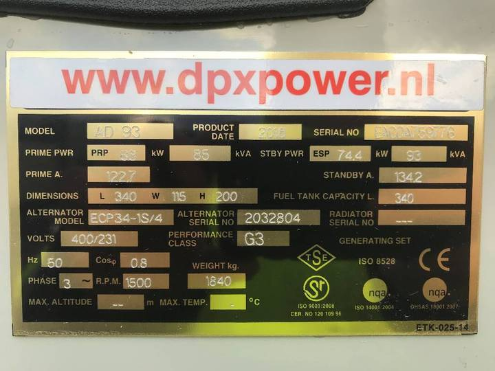 Doosan D1146 - 93 kVA Generator - DPX-15548 - 2019 - image 4