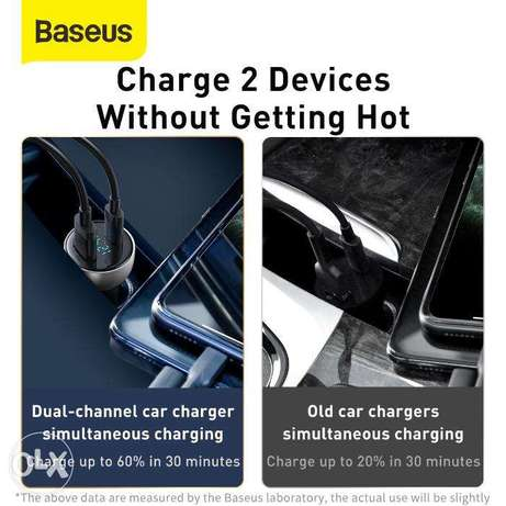 Baseus Car Charger 65W with Digital Display for all Mobile حولي -  5