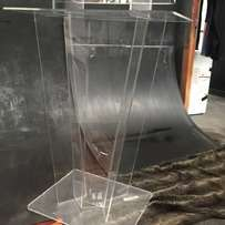 Clear Perspex/ Acrylic/ Glass Podiums/ Pulpits on sale – W-Shape