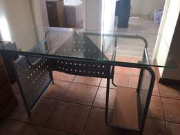 Study / Office glass topped desk.