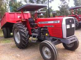 Massey Ferguson MF 375 with/New Tipping Trailer/3 Disc Plough/Warrant