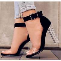 Women's clear Ankle Strap High Heel Sandals - Black