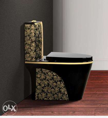 Luxury black toilet desigh model with gold flowers
