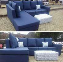 Six seater sofa with a puff and comes with two comforters
