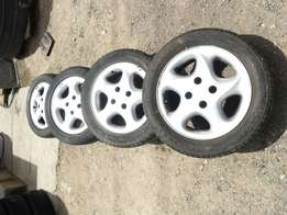 "Peugeot 307 406 Alloys Wheels with tyres 15"" Ex uk"