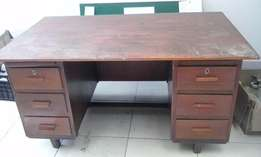 6 Drawer Wooden Kiaat Desk