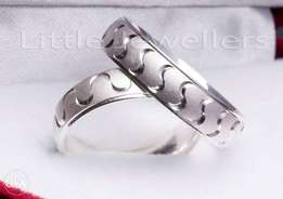 Pure Silver Engravable Wedding Rings