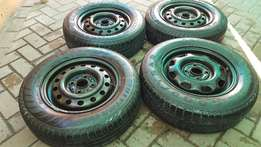 Steelies with tyres set for sale
