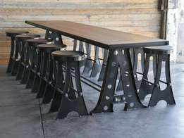 Vintage look. We manufacture any metal furniture to customers specs.