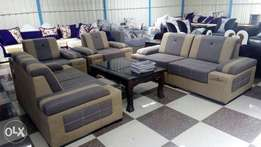 Suede Fabric 7 seater Sofa with free table