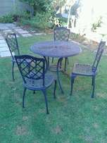 Patio furniture, cast iron 5-piece set