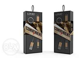 176Genuine LDNIO High Speed keyholder 2in1 Data Charging Cable for iOS