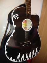 White flowered Black Medium size Acoustic Guitar with Strap & pick