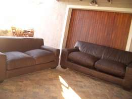 KARIBA CORICRAFT full leather lounge suite, 2 large 3 seaters for sale