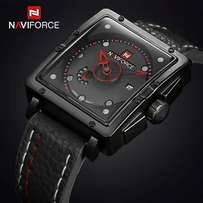 Navy force leather watch