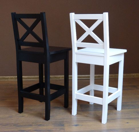 Białe I Czarne Krzesła Barowe Biały Hoker Drewniany Do