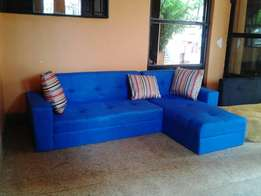 Fabri blue five seater L sofa