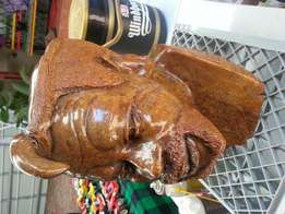 African stone head statue.
