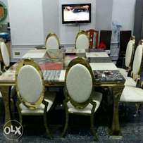 Quality by ten seats marble with ten chairs on silver color not gold