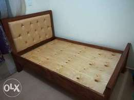 Mahogany bed leather headboard