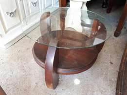 Wooden, glass top coffee table