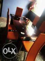 XD Six Sitter Exotic Glass Dinning Table Set (New)